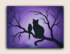 Cat and bird acrylic painting on canvas. Silhouette painting of a sweet little bird befriends a kitty on a tree branch.Acrylic Painting on Canvas. Bird Paintings On Canvas, Simple Acrylic Paintings, Easy Paintings, Silhouette Painting, Bird Silhouette, Canvas Silhouette, Silhouette Images, Diy Canvas, Acrylic Painting Canvas