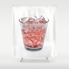 Glass with Ice and Red Liquor Shower Curtain - $68.00