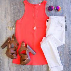 Antonia Top - Neon Coral