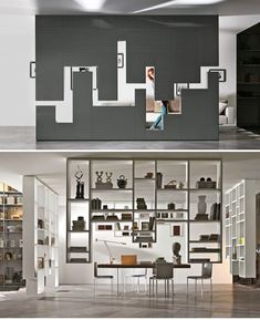 30mm Weightless and 36e8 Weightless by Lago. First time modules use the ceiling as a wall attachment and create an extreme suspension effect. The shelves and containers hang down from the ceiling like stalactites. An elegant and original solution for organizing and dividing a setting is by creating an architecture at the center of the room which on one side is a wall in polished glass (extra-clear glass or lacquered) or lacquered wood) and on the other a bookcase sculpture.:
