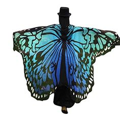 Amazon.com - Creazy Soft Fabric Butterfly Wings Shawl Fairy Ladies Nymph Pixie Costume Accessory (Blue) -