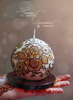 Beautifully designed circular henna candle
