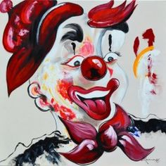 Vintage Clown Oil Painting Signed Campo Happy W Flower
