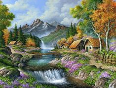 Ideas For Diy Art Pictures Paint Nature Paintings, Beautiful Paintings, Beautiful Landscapes, Beautiful Scenery, Landscape Art, Landscape Paintings, Waterfall Drawing, Belle Image Nature, Kinkade Paintings