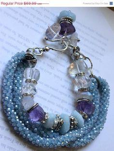 ON SALE chunky charm bracelet multi strand by soulfuledges on Etsy