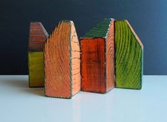 Set of 4 wooden houses, painted in vintage style with acrylic paints, Home decoration, Wooden house. Dimensions 65mm*40mm*40mm. These miniature houses will look great in the interior of your home. Price indicated for 4 houses