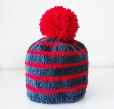 19330f25319 Baby hat in wool with a red tassel - Navy striped hat for baby 3 6 months.  Bonnet En LaineBonnet BébéPompon RougeBébé ...