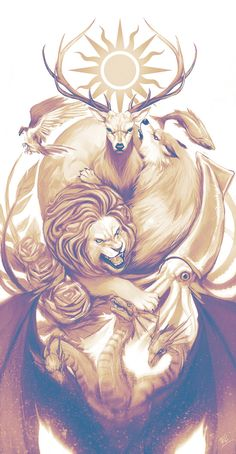 Uma série de ilustrações de Game Of Thrones de diferentes autores e estilos. Mais