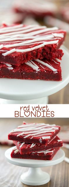 Velvet Blondies Red Velvet Blondies - turn the best blondie recipe into red velvet!Red Velvet Blondies - turn the best blondie recipe into red velvet! Fun Desserts, Delicious Desserts, Dessert Recipes, Yummy Food, Cake Recipes, Red Velvet Desserts, Red Velvet Recipes, Chocolate Almond Bark, Chocolate Candy Melts
