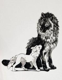 "Illustration Moon ""Von dem Moment an, als ich ihn zum ersten Mal ansah, wusste i. Illustration Moon ""From the moment I looked at him for the first time, I knew that he . - Illustration Moon"" From Wolf Illustration, Wolf Tattoos, Animal Tattoos, Furry Art, Animal Drawings, Cute Drawings, Wolf Drawings, Art Du Croquis, Art Mignon"