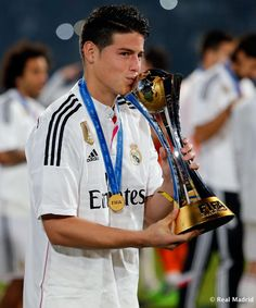 James Rodríguez of Real Madrid celebrates after the FIFA Club World Cup Final match between Real Madrid CF and San Lorenzo at Le Grand Stade de Marrakech on December 20, 2014 in Marrakech, Morocco.