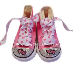 Double Heart Pink Bling Converse