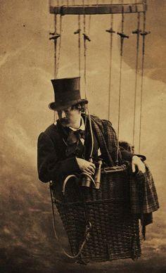 Félix Nadar, photographer, Self-portrait in a balloon.