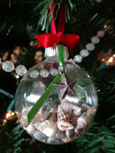 Christmas Ornament DIY for my small shells, I always collect sea shells when we go to the beach so this would be cool