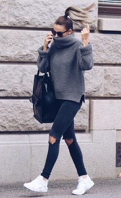 cable knits wearing with rips and white converse