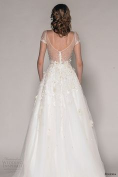 eugenia couture fall 2016 bridal cap sleeves v neckline beaded floral metallic appliques pretty a  line wedding dress style elizabeth