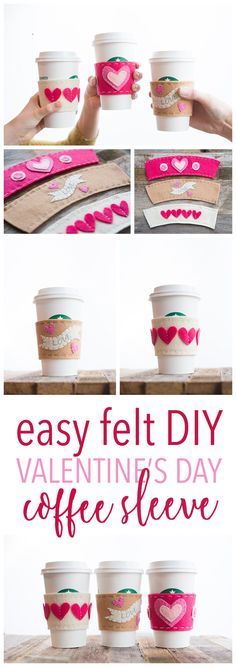 Valentine's Day Felt Cup Sleeve Free Patterns 3 Options is part of Felt crafts Holiday - Valentine's Day Gift Idea Cup Sleeve Easy Project DIY Felt Craft Free Patterns 3 Options Free Printable Pattern V Day Craft Funny Valentine, Valentine Day Crafts, Valentine Ideas, Drops Design, Easy Felt Crafts, Clay Crafts, Paper Crafts, Drops Baby, Felt Cupcakes