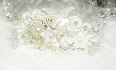 Ivory Bridal Hair Comb- Ivory Hair Clip- Pearl Bridal Comb- Vintage Inspired Hair Piece-Bridal Hair Accessories-Bridal Fascinator-Ivory comb by BrassBoheme on Etsy