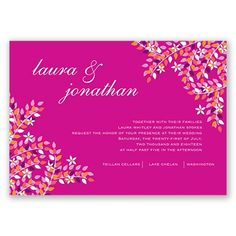 Romance in Season Wedding Invitation - in Begonia #WeddingInvitations #SummerWeddings #DavidsBridal