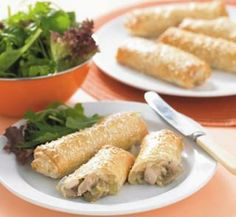 chicken and mushroom filo rolls - ONE OF MY FAVE EASY DINNERS  so yum and easy!