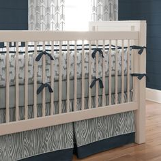 Navy and Gray Deer Crib Bedding | Carousel Designs