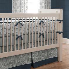 Navy and Gray Deer Crib Bedding   Carousel Designs
