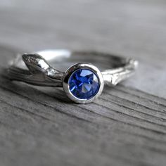 Blue Sapphire Budding Branch Ring in Recycled by kristincoffin, $900.00