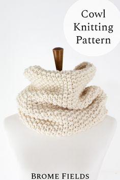 Brome Fields Cowl Knitting Pattern - One Size - Beginner Skill Level - US 13 Knitting Needles - Super Bulky Yarn - Knit in the Round Knit Shrug, Knit Cowl, Knit Crochet, Knitting Patterns Free, Free Knitting, Seed Stitch, Headband Pattern, Yarn Crafts, Knitting Projects