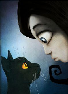 "- Carmesina, ¿me recuerdas? Soy Gato Negro. Ilustración para ""La inspiración Dormida"" (Play Attitude, 2011). Ilustración David G. Forés"