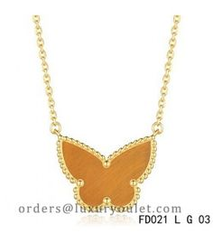 Van Cleef Arpels Lucky Alhambra Tiger's Eye Butterfly Necklace Yellow Gold