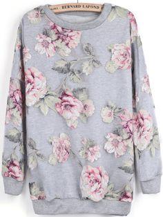 Grey Long Sleeve Contrast Organza Floral Sweatshirt GBP£16.70
