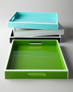 """""""Elle"""" Lacquer Trays by Swing Design at Horchow."""