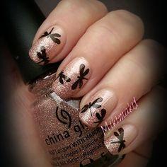 Was feeling pink tonight!  #nailart #dragonfly #mani #nailstamping