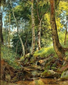 The Brook By Ivan Shishkin, Oil Painting - Art Collection Nature Paintings, Landscape Paintings, Art Paintings, Russian Landscape, Watercolor Landscape, Art History, Oil On Canvas, Art Photography, Scenery