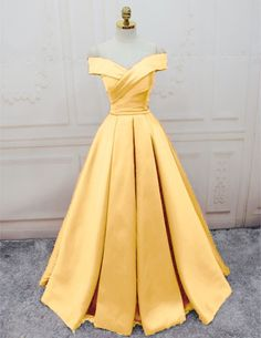 Prom dresses yellow - Simple Yellow Off the Shoulder Prom Dresses Lace up Sweetheart Satin Party Dresses – Prom dresses yellow Pretty Dresses, Sexy Dresses, Beautiful Dresses, Fashion Dresses, Long Dresses, Elegant Dresses, Simple Dresses, Casual Dresses, Dress Long