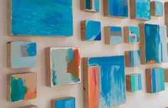These Set of 24 Modern abstract painted wall wood cube sculptures are a perfect art installation statement for your home, office, corporate offices, commercial lobby, hotel, hospital or any public space. Our bold abstract art is created by using pieces of genuine solid pine wood. We