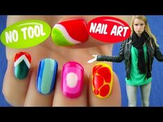 No Tool Nail Art! 5 Nail Art Designs & Ideas Without Any Nail Art Tools - YouTube