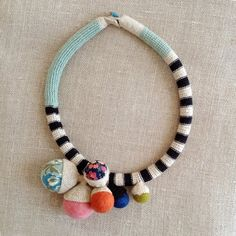 Short fiber tube multicolor necklace by kjoo on Etsy