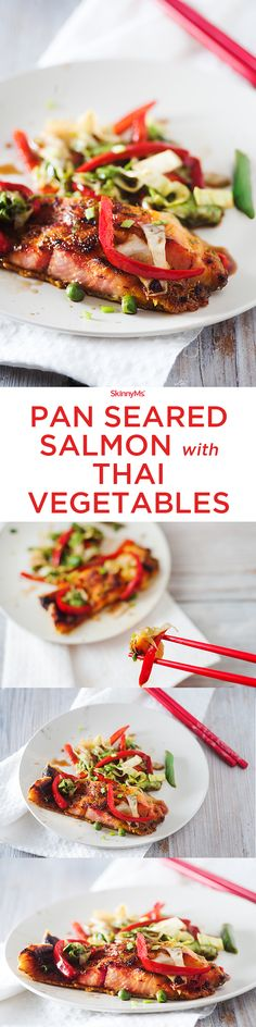 If you don't make salmon a regular part of your menu rotation, now is a perfect time to start! | Pan Seared Salmon with Thai Vegetables