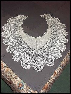 """Dunyazade"" beaded lace shawl knit in 70% merino/30% silk lace weight yarn (pattern by Anna Victoria)"