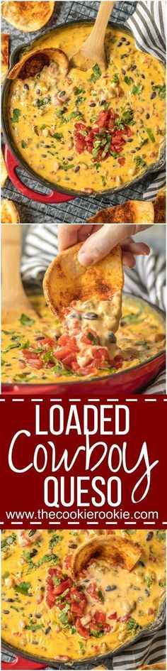 LOADED COWBOY QUESO is the ultimate Super Bowl dip! This EASY appetizer is loaded with velveeta, pepper jack, black beans, Rotel, and sausage! OUR FAVORITE TAILGATING DIP RECIPE!