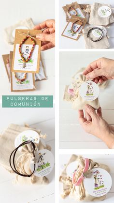 Pulseras como regalo para invitados de Comunión Baptism Centerpieces, Handmade Wire Jewelry, Christening Invitations, First Holy Communion, Religious Gifts, Candy Gifts, Craft Party, Creative Gifts, Diy Gifts
