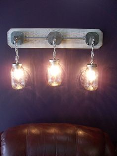 This Mason Jar Light would be great in a study or a den (ebay)