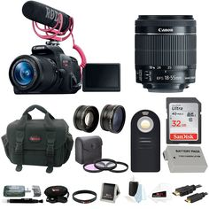 Amazon.com : Canon Rebel T5i Video Creator Kit with 18-55mm Lens, Rode VIDEOMIC GO and Sandisk 32GB SD Card+ Canon Rebel DSLR Gadget Bag + Accessory Bundle : Camera & Photo