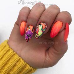 Modny Manicure na Lato – TOP 20+ Cudownych Inspiracji na Letnie Paznokcie Orange Nail Art, Orange Nail Designs, Orange Nails, Nail Art Designs, Nail Art Hacks, Nail Art Diy, Nail Polish Kits, Gel Polish, White Glitter Nails
