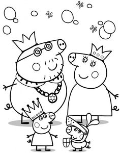 Printable Peppa Pig Coloring Pages. Have a Joy with Peppa Pig Coloring Pages. Do your children like to color pictures? If they do, the Peppa pig coloring pages Peppa Pig Coloring Pages, Family Coloring Pages, Cartoon Coloring Pages, Animal Coloring Pages, Coloring Books, Coloring Sheets, Kids Colouring, Coloring Stuff, Fairy Coloring