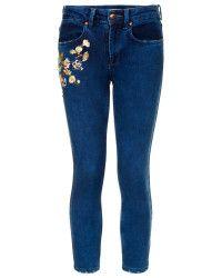 TOPSHOP | Blue Moto Vintage Embroidered Jeans | Lyst