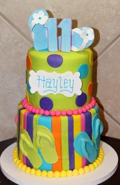 Summer Themed Birthday Cake Decorated Sheet Cake