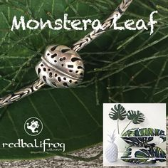 Monstera Leaf #monsteraleaf #redbalifrog #silverbeads #beads #monstera #jewellery