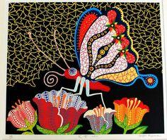 草間彌生 ◆ 『花園』 ◆ シルクスクリーン 蝶の2番目の画像
